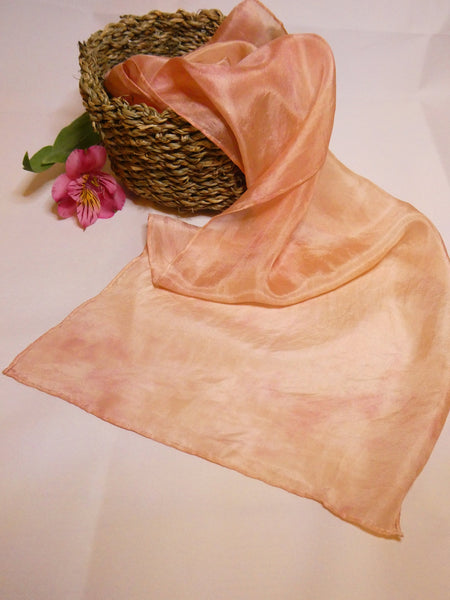 Mottled peach silk scarf, hand dyed, natural dyes
