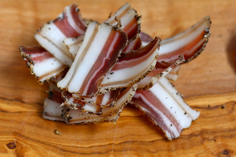 Slices of Cured Pork Belly (Pancetta) Looking Delicious