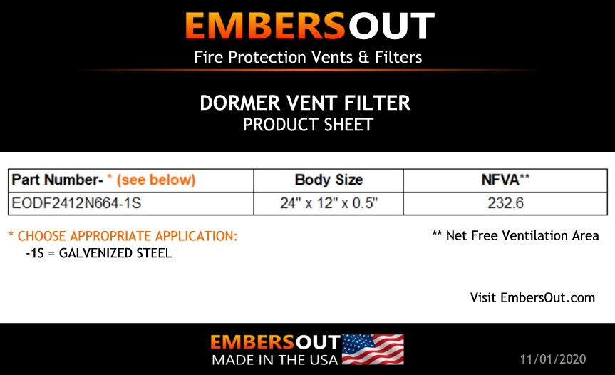 Embers Out Dormer Vent Filter