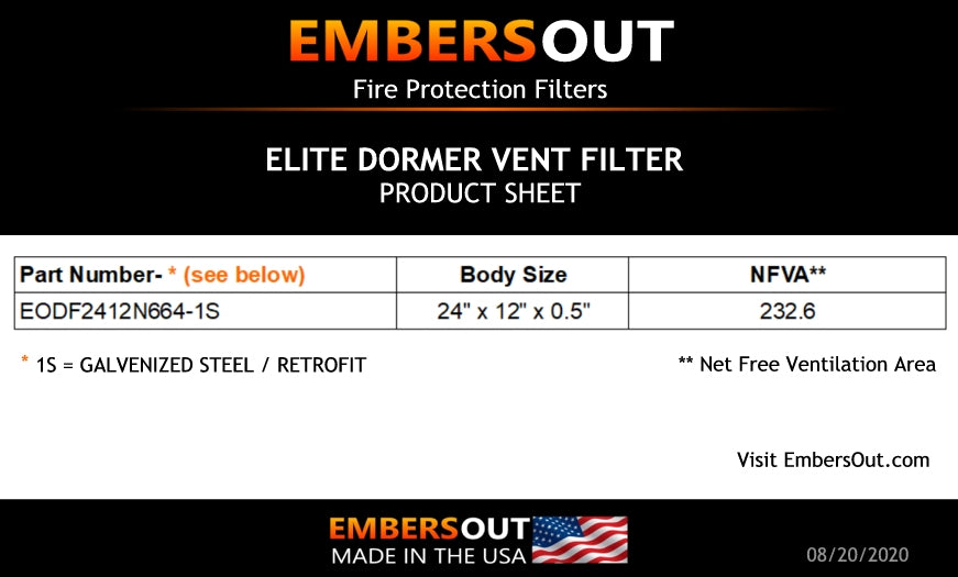 Embers Out Elite Dormer Vent Filter Product Sheet