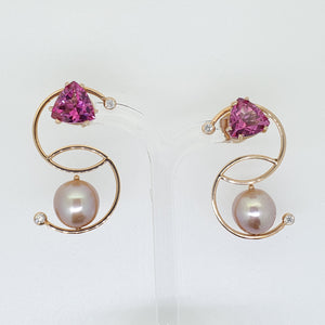 Pink Pearl and Pink Topaz Earrings
