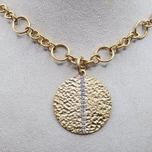 Load image into Gallery viewer, Hammered Large Circle Pendant Necklace