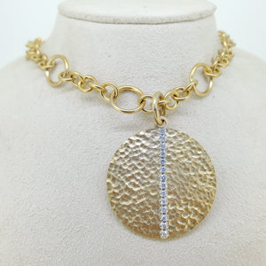 Hammered Large Circle Pendant Necklace