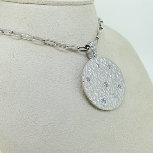 Diamond Hammered Pendant Necklace