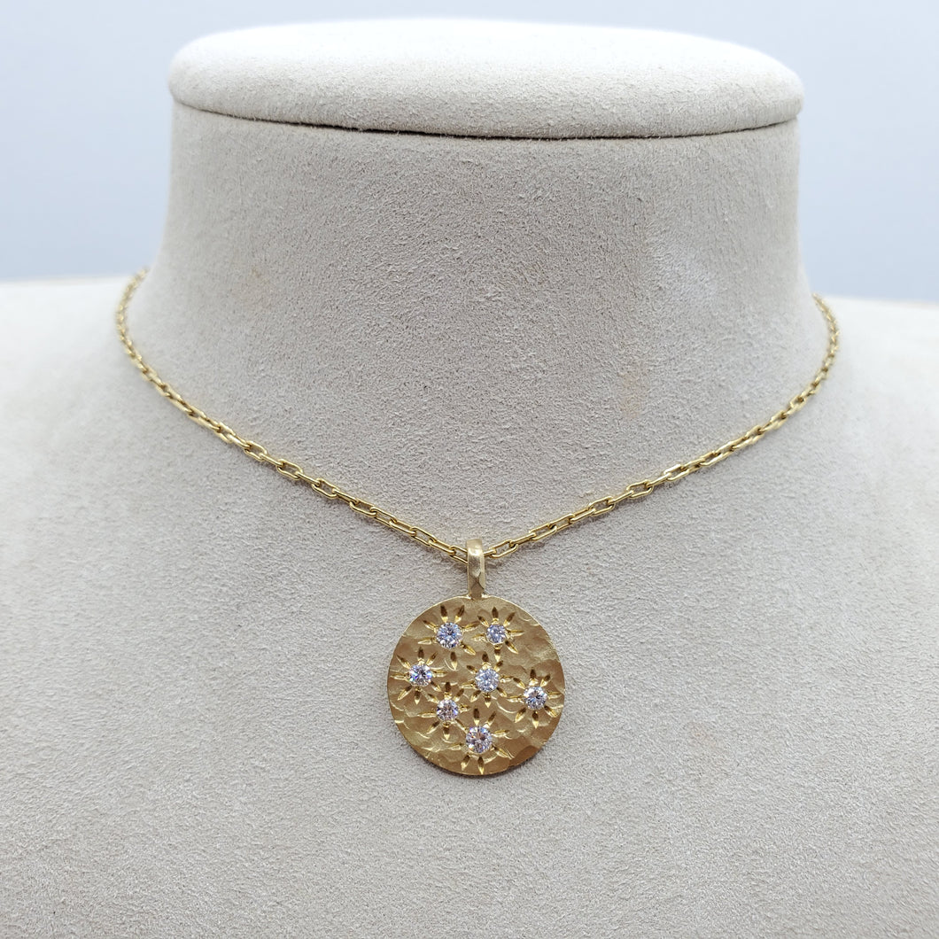 Diamond Spark Hammered Necklace