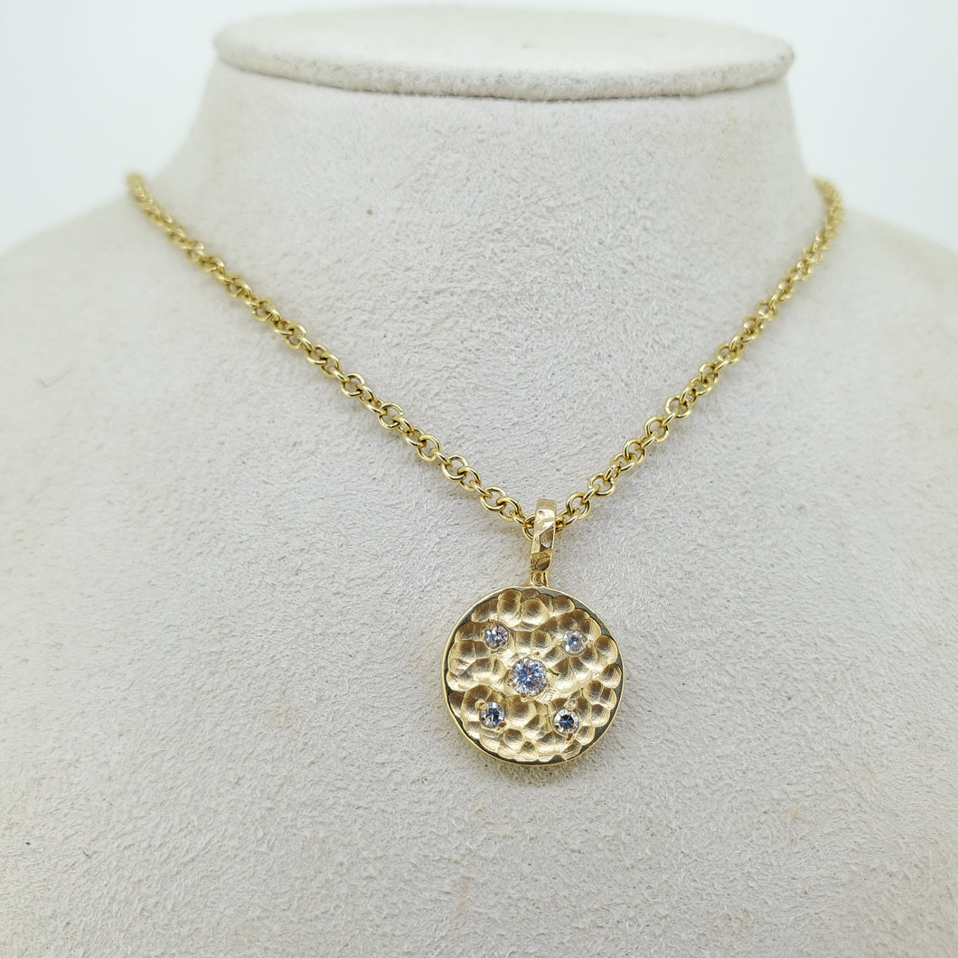 18K Necklace Hammered Pendant