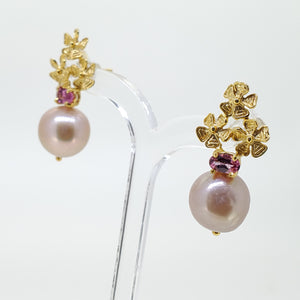 Pink Akoya Pearl Earrings