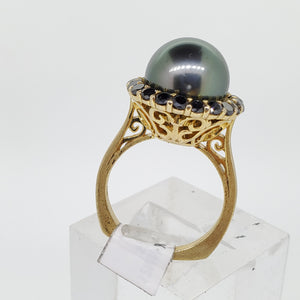 Black Pearl & Black Diamond Ring