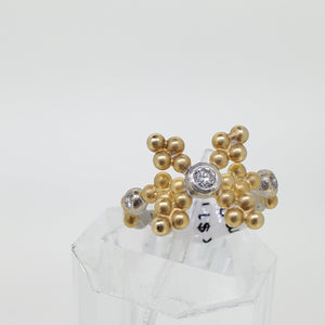 Two Tone Bead Diamond Ring