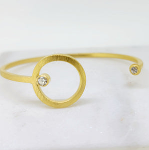Open Circle Diamond Bangle