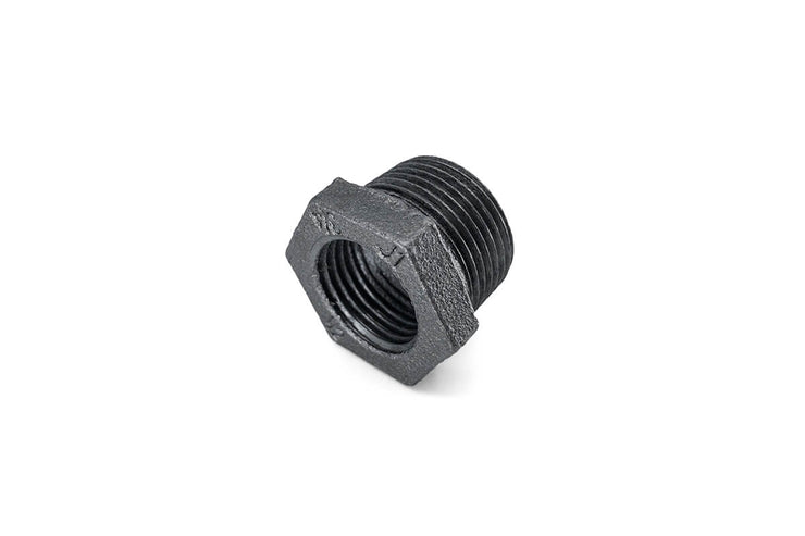 Black Malleable Iron Fittings (2) ' Reducing Hex Nipple / Reducing Bush / 90 Degree Female Elbow