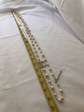 "Load image into Gallery viewer, CHANEL Gold, Pearl, Necklace w: 2 Crystal Starburst + 2 Crystal CC Stations 44""L (NEW)"