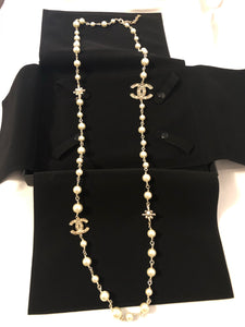 "CHANEL Gold, Pearl, Necklace w: 2 Crystal Starburst + 2 Crystal CC Stations 44""L (NEW)"