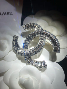CHANEL CC Channel Set Crystal Baguettes BROOCH (New!)