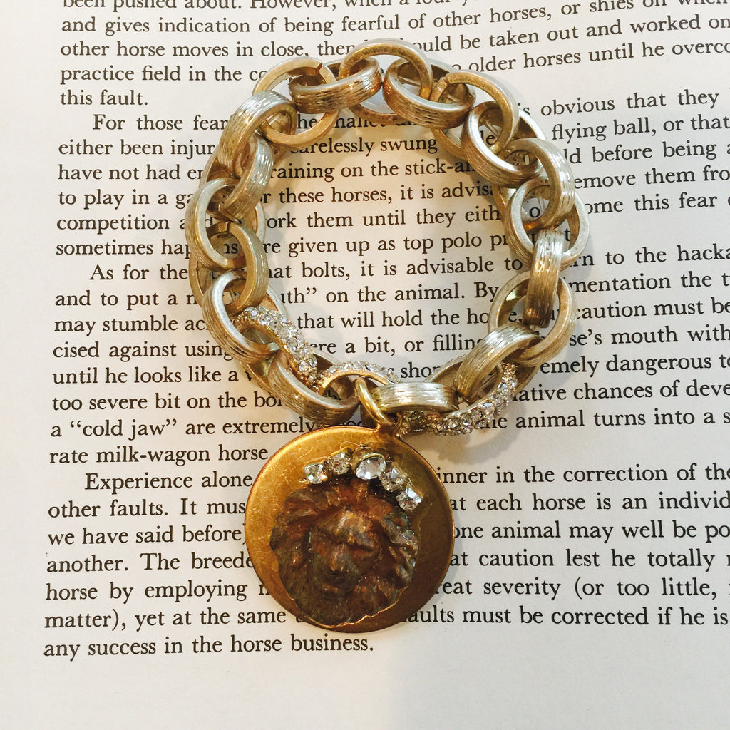 Gold Bling Bracelet w/ Lion Medallion