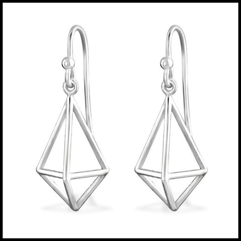 3D Geometric Dangle Sterling Earring