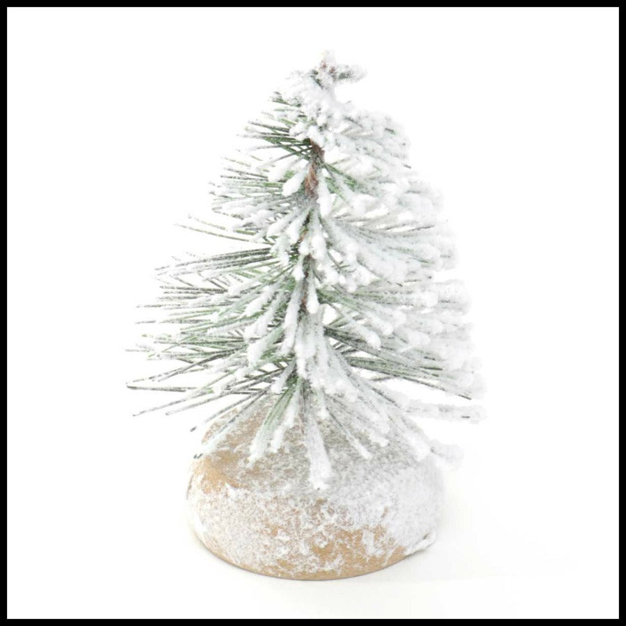 "4.5"" Mini Tree with Snow/Wood Base"