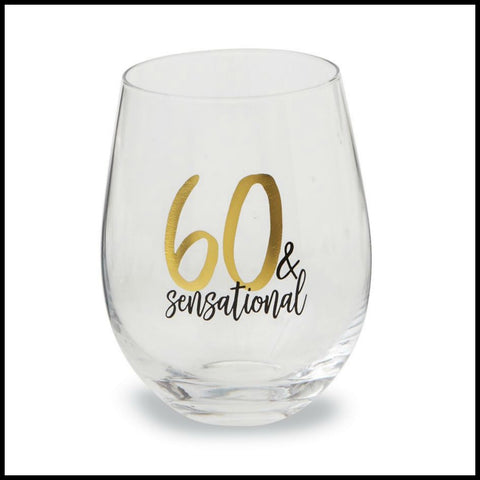 """60 & Sensational"" Wine Glass by Mud Pie"