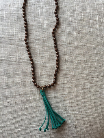 Bronze Bead Necklace with Leather Tassel