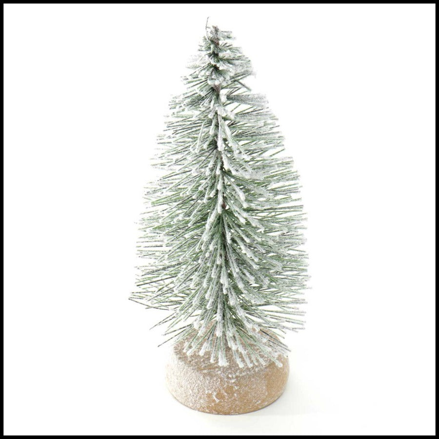 "7.5"" Mini Tree with Snow/Wood Base"
