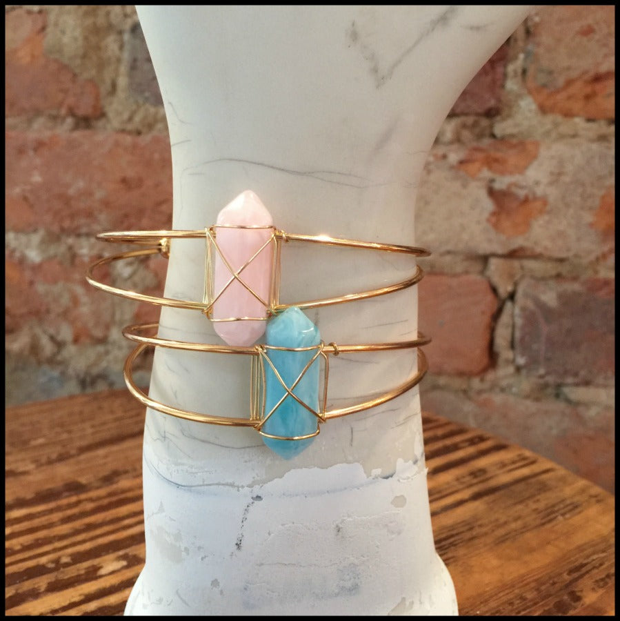 Wire Wrapped Faceted Stone Gold Cuff