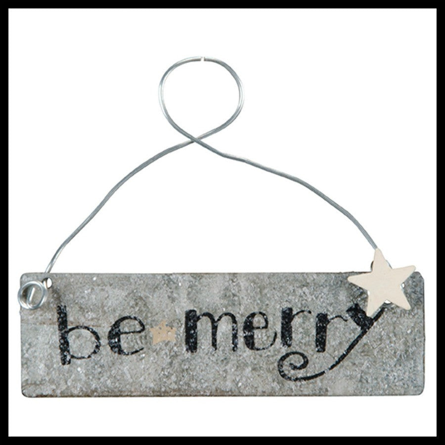 "Silver ""Be Merry"" Ornament"