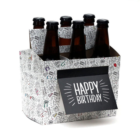 """Happy Birthday""Black and White Six Pack Carrier/Greeting Card"