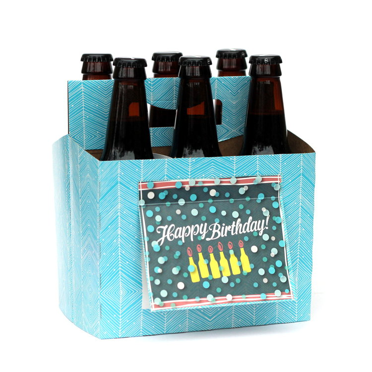 """Happy Birthday"" Blue Six Pack Carrier/Greeting Card"