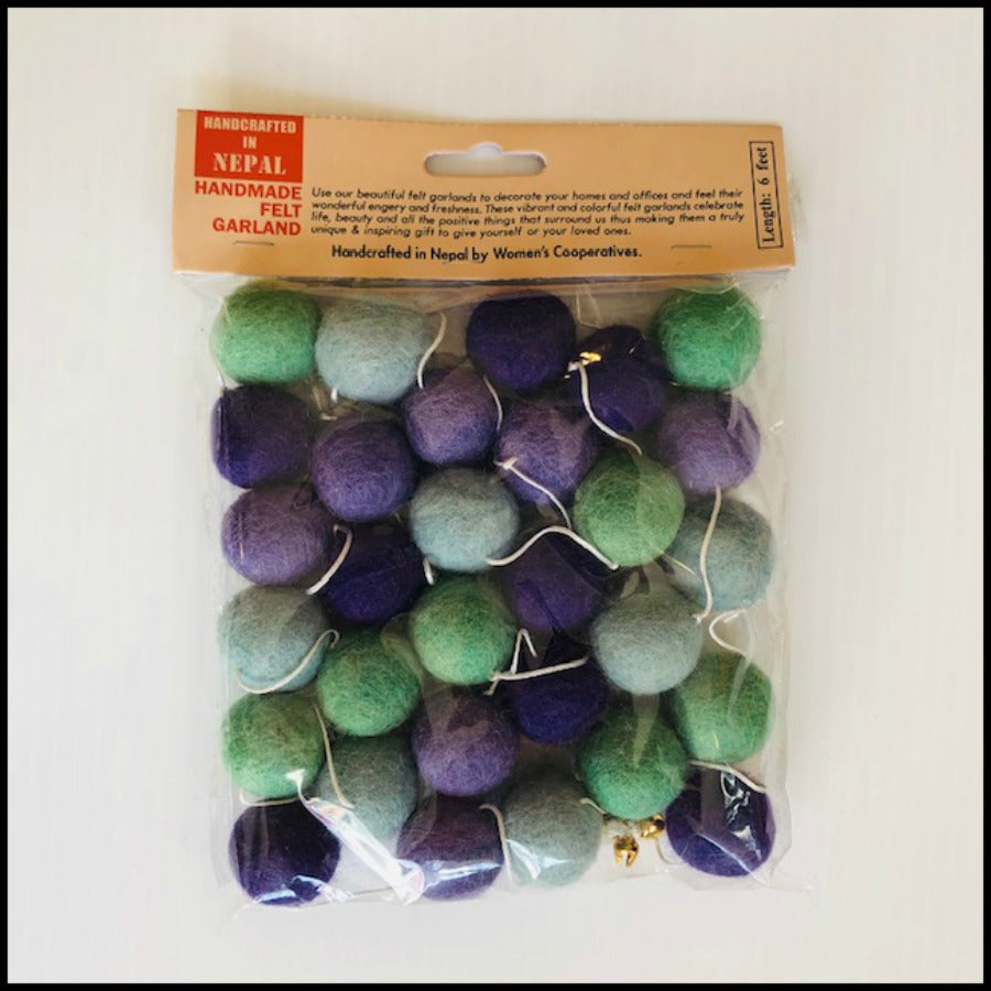 Green/Blue/Purple Felt Pompom Garland