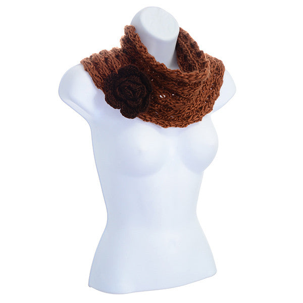 Camel Brown Loose Knit Infinity Scarf