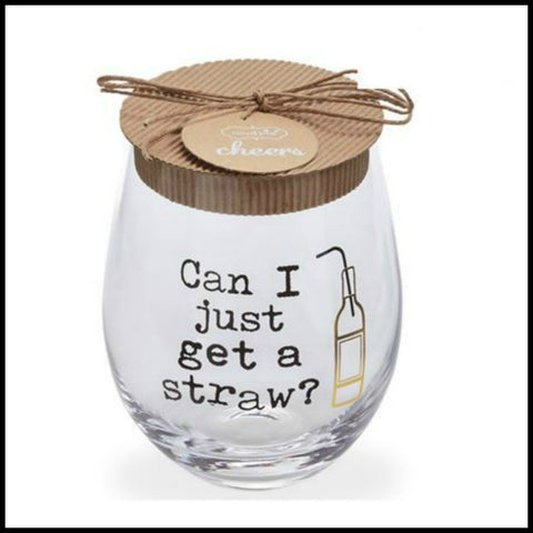 """Get a Straw"" Stemless Glass by Mud Pie"