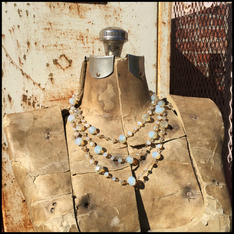 Champagne Bead Short  Layered Necklace