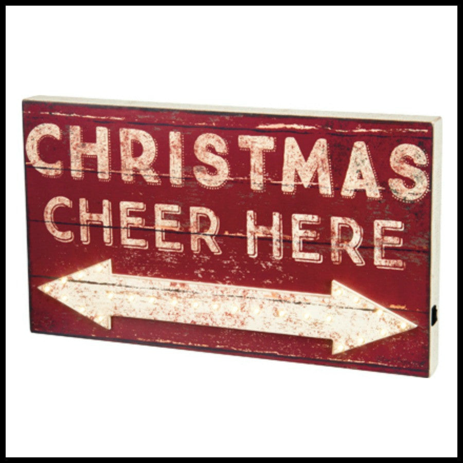 Christmas Cheer Here LED Box Sign
