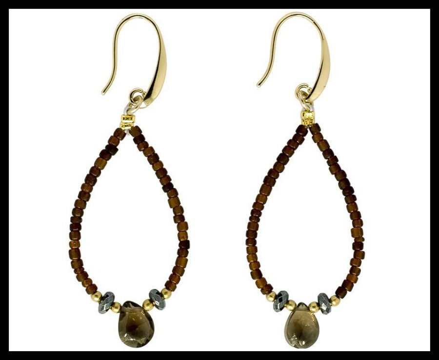 Smoky Topaz Beaded Teardrop Earring