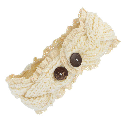 Cream Braided Knit Headband