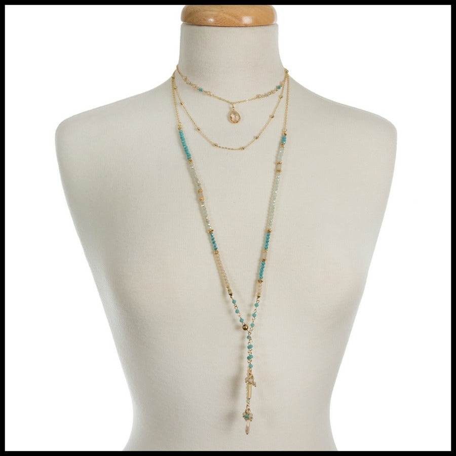 Dainty Multi Layered Aqua/Gold Necklace