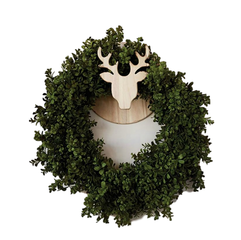 Natural Wood Deer Wreath Holder