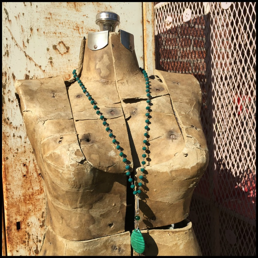 Emerald Faceted Bead Stone Pendant Necklace
