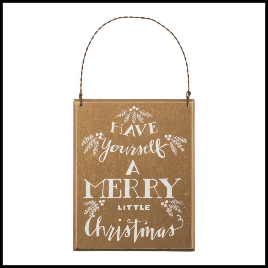 Gold Merry Little Christmas Sign