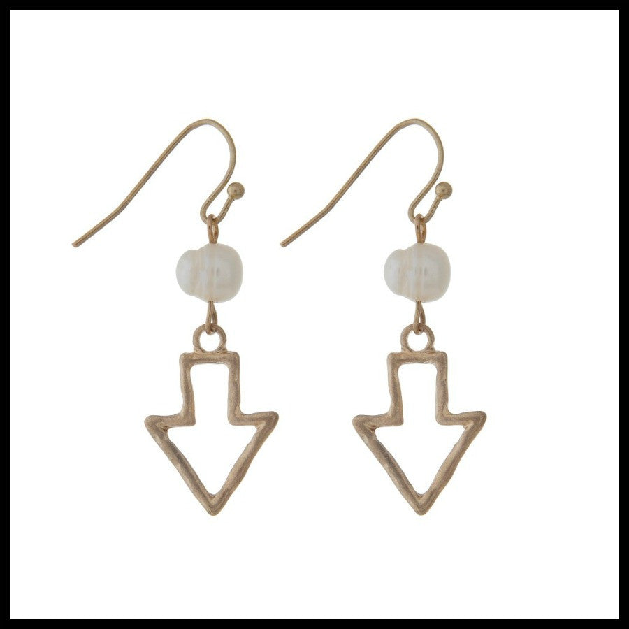 Gold Open Arrow Earring