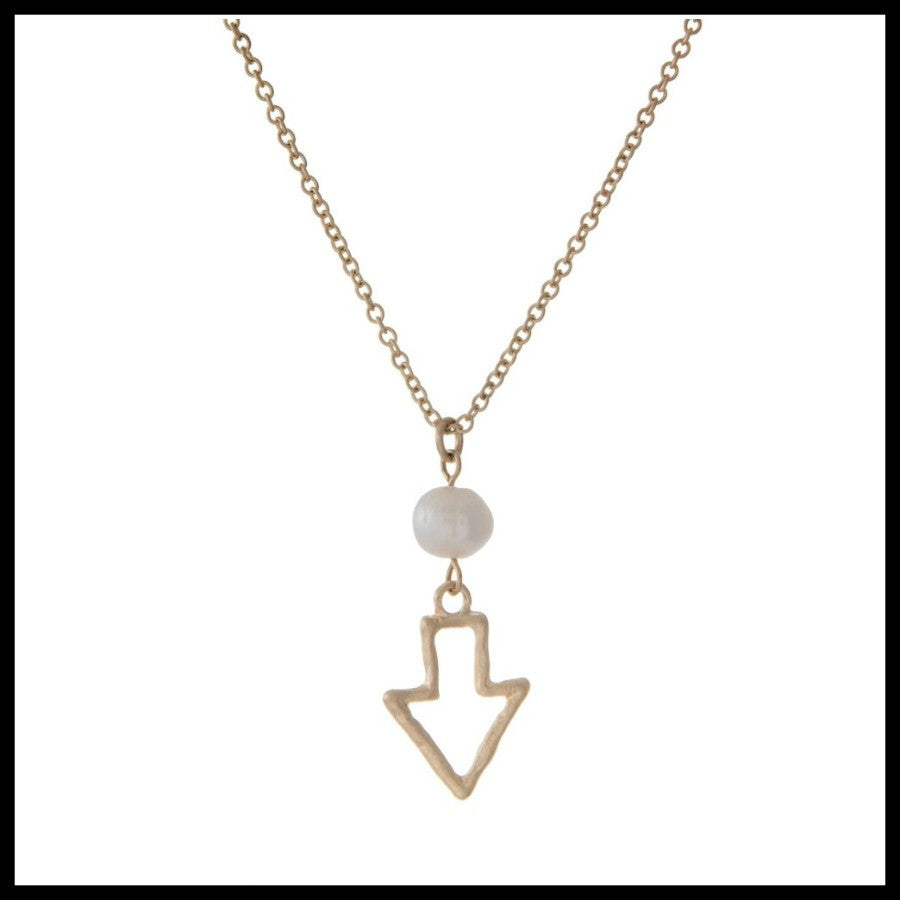 Gold Open Arrow Necklace