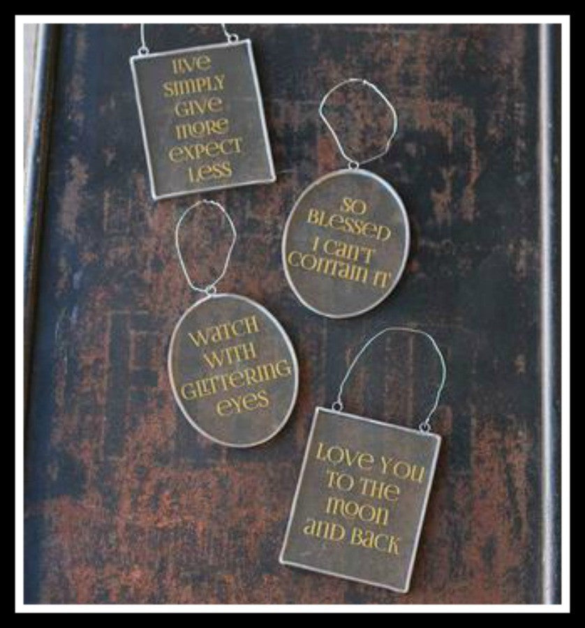 Golden Quotes Glass Ornament