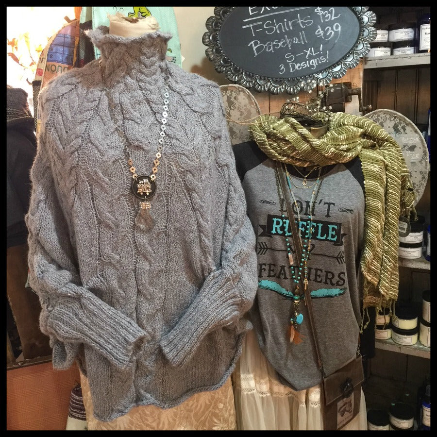 Hand Knit Pullover Cuffed Poncho