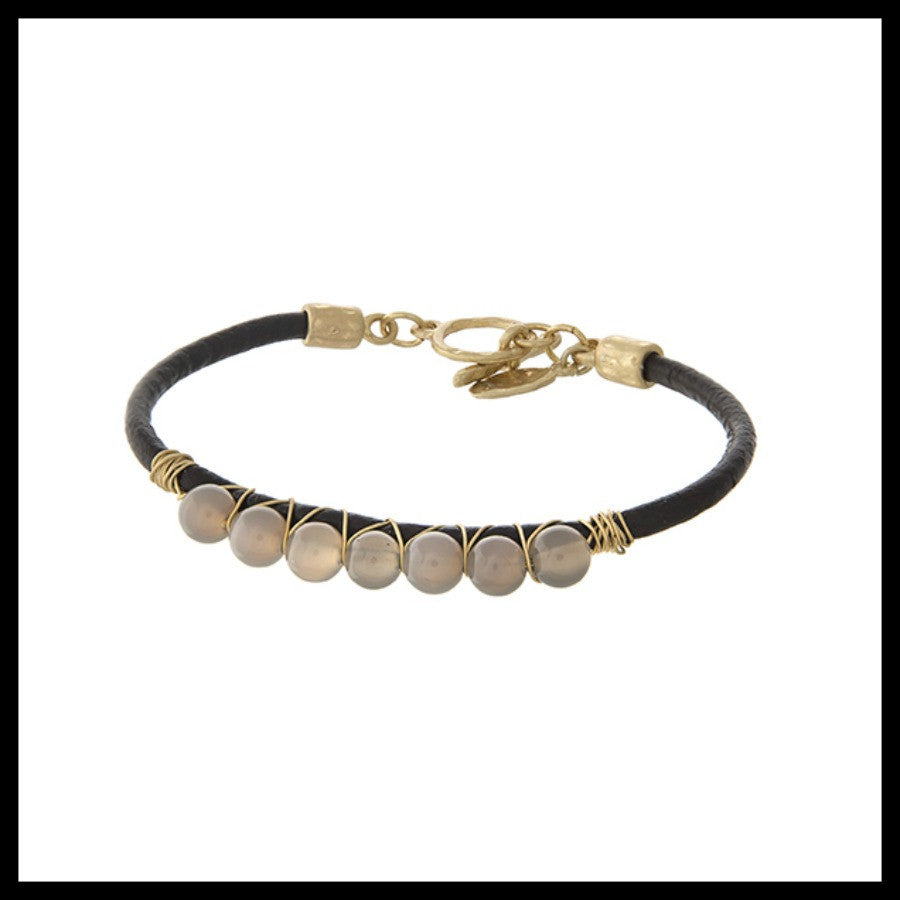 Gray Agate Bead Leather Cord Bracelet