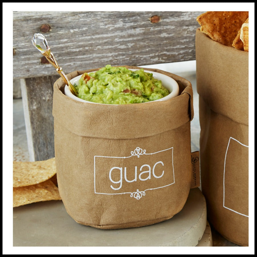"""Guac"" Washable Paper Holder/Dish Set"