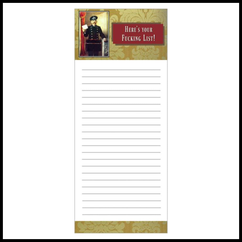 Here's Your F'ing List Notepad