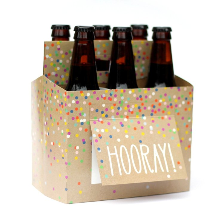 """Hooray"" Six Pack Carrier/Greeting Card"