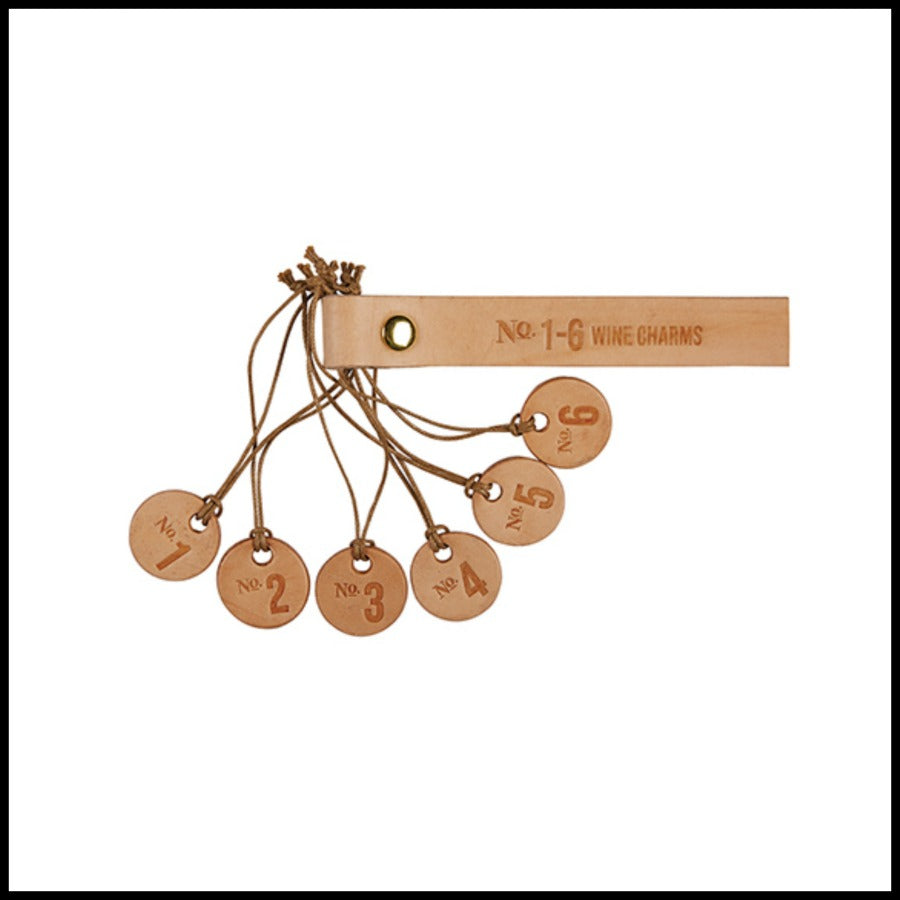 """Number"" Leather Wine Charm Set"
