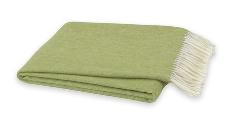 Cashmere Italian Herringbone Throw - Lemongrass