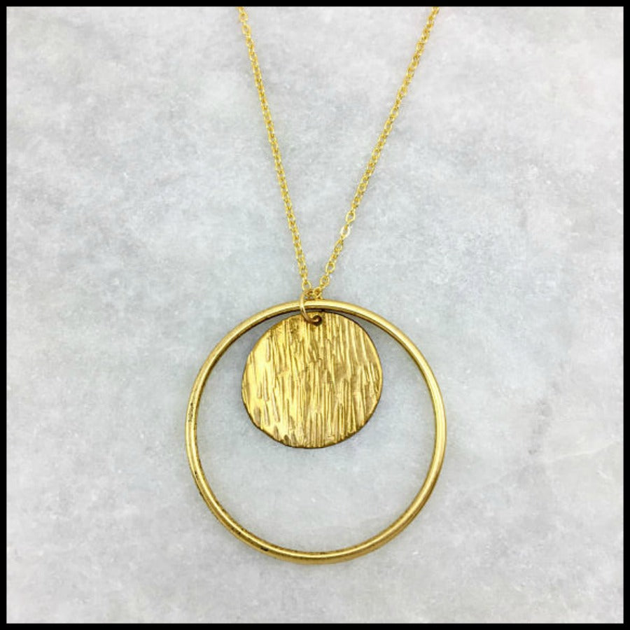 Double Brass Circle Pendant Necklace